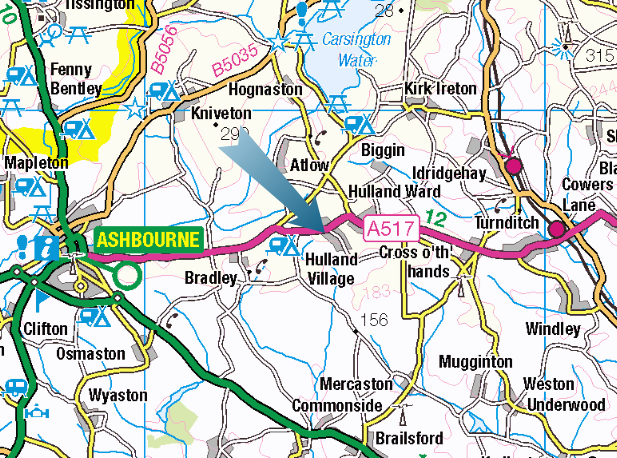 map of Derbyshire Dog Training location